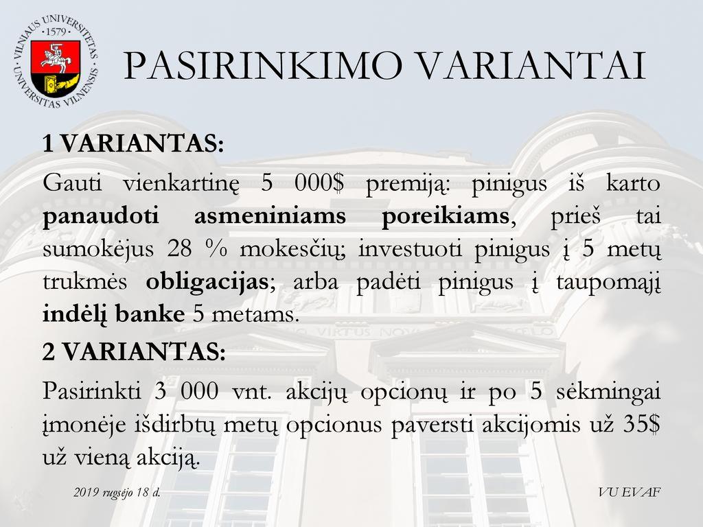 akcijų pasirinkimo atlyginimų paketas)