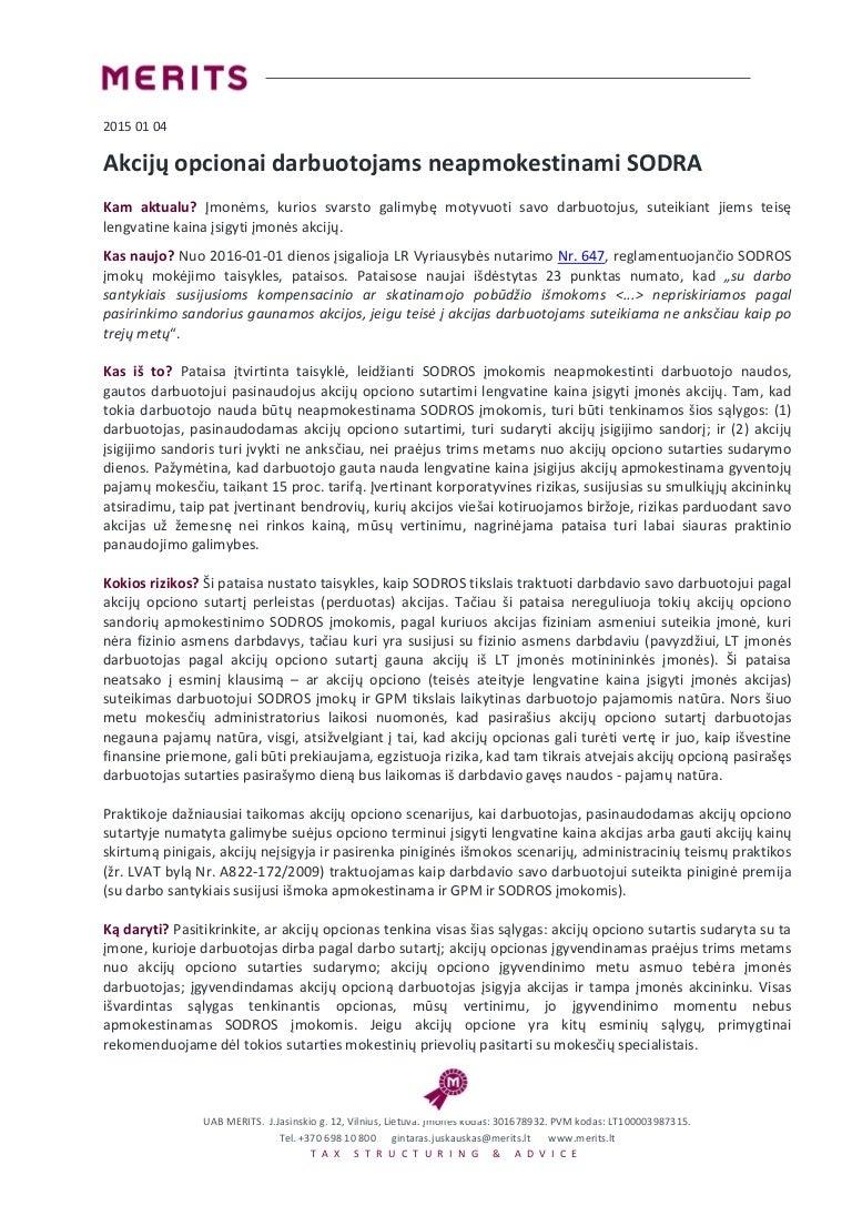 akcijų opcionų vertė privačioje įmonėje)