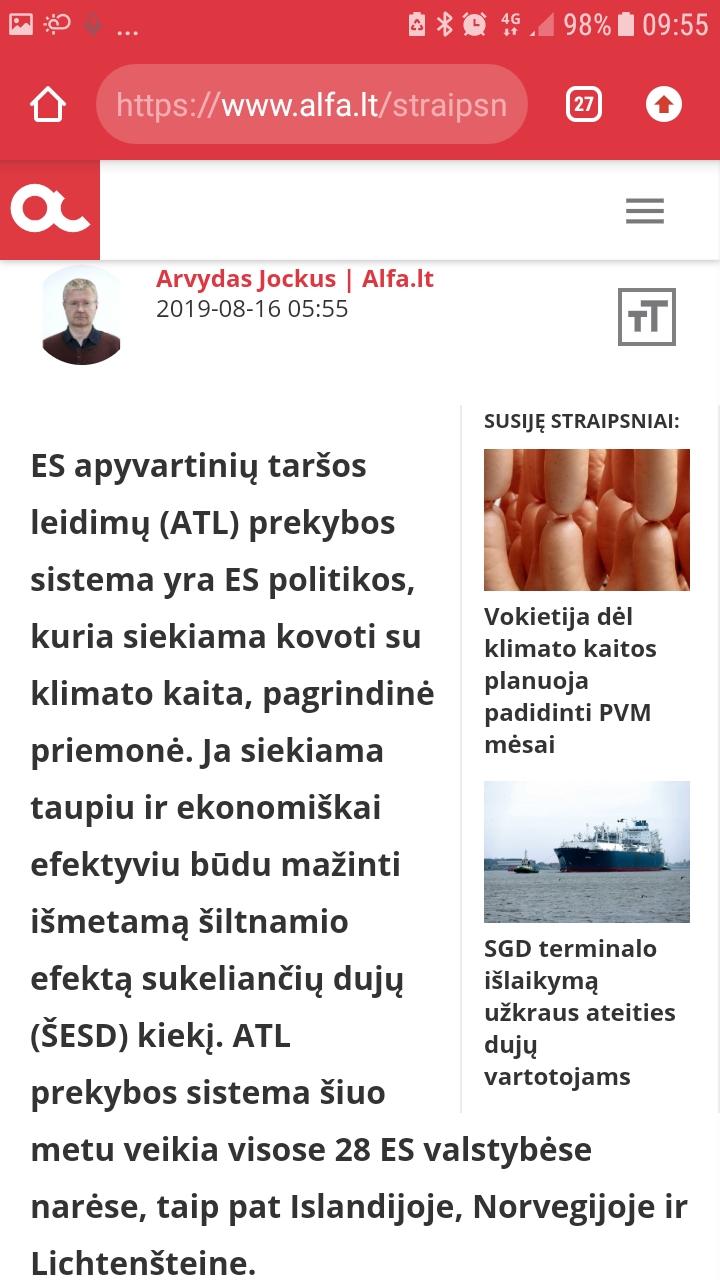 prekybos apyvartiniais taršos leidimais sistemos ateitis)